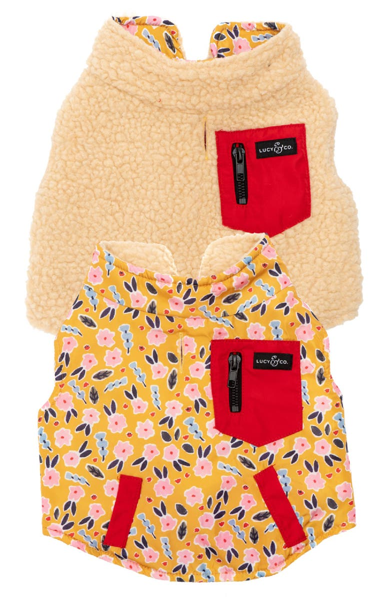 LUCY AND CO Lucy & Co. The Little Lamb Reversible Teddy Fleece Dog Vest, Main, color, LITTLE LAMB