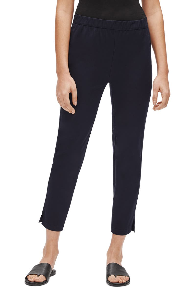 EILEEN FISHER Organic Stretch Cotton Slit Hem Ankle Pants, Main, color, INK