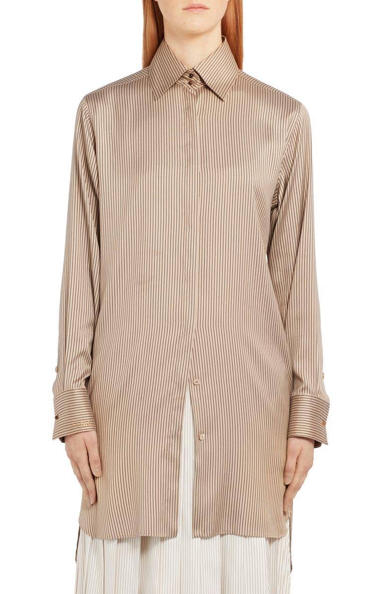 FENDI Pinstripe Longline Silk Shirt, Main, color, BEIGE