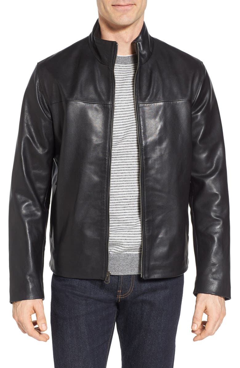 COLE HAAN Signature Washed Leather Jacket, Main, color, 001