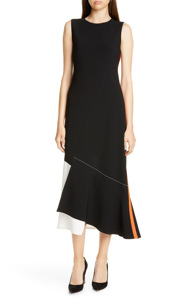 JUDITH & CHARLES Monza Midi Dress, Main, color, BLACK