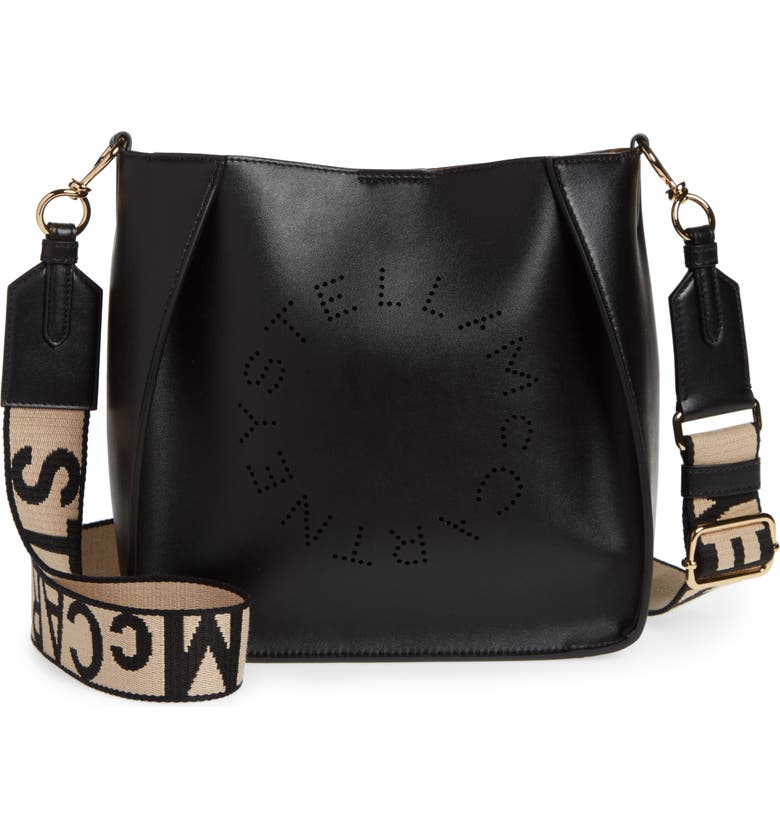 STELLA MCCARTNEY Perforated Logo Faux Leather Crossbody Bag, Main, color, BLACK