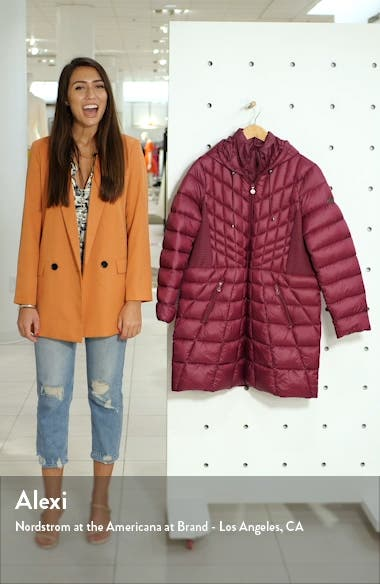 Packable Hooded Down & EcoPlume Fill Coat with Contrast Inset Bib, sales video thumbnail