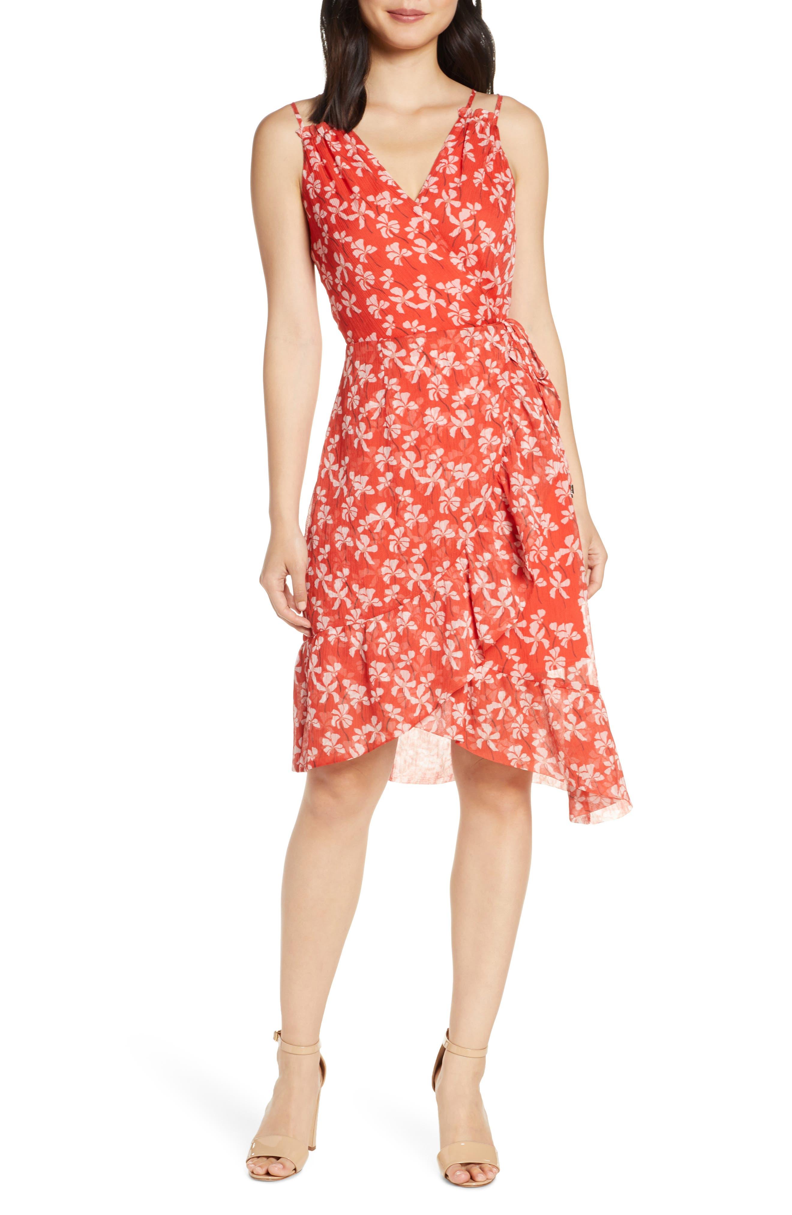 Adelyn Rae Tessie Floral Print Asymmetrical Chiffon Dress, Red