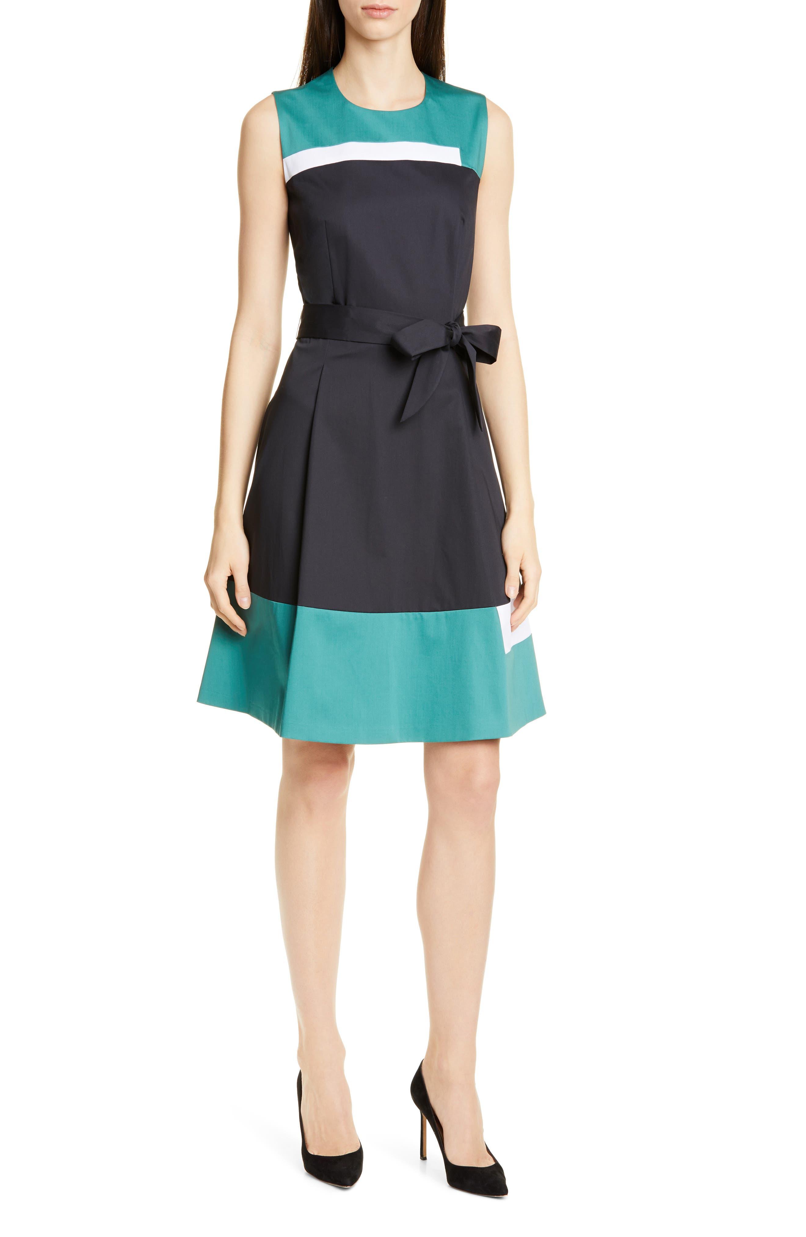 Petite Boss Dadesa Colorblock Cotton Dress, Blue