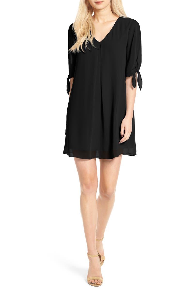 SOPRANO Jules Split Sleeve Shift Dress, Main, color, 001