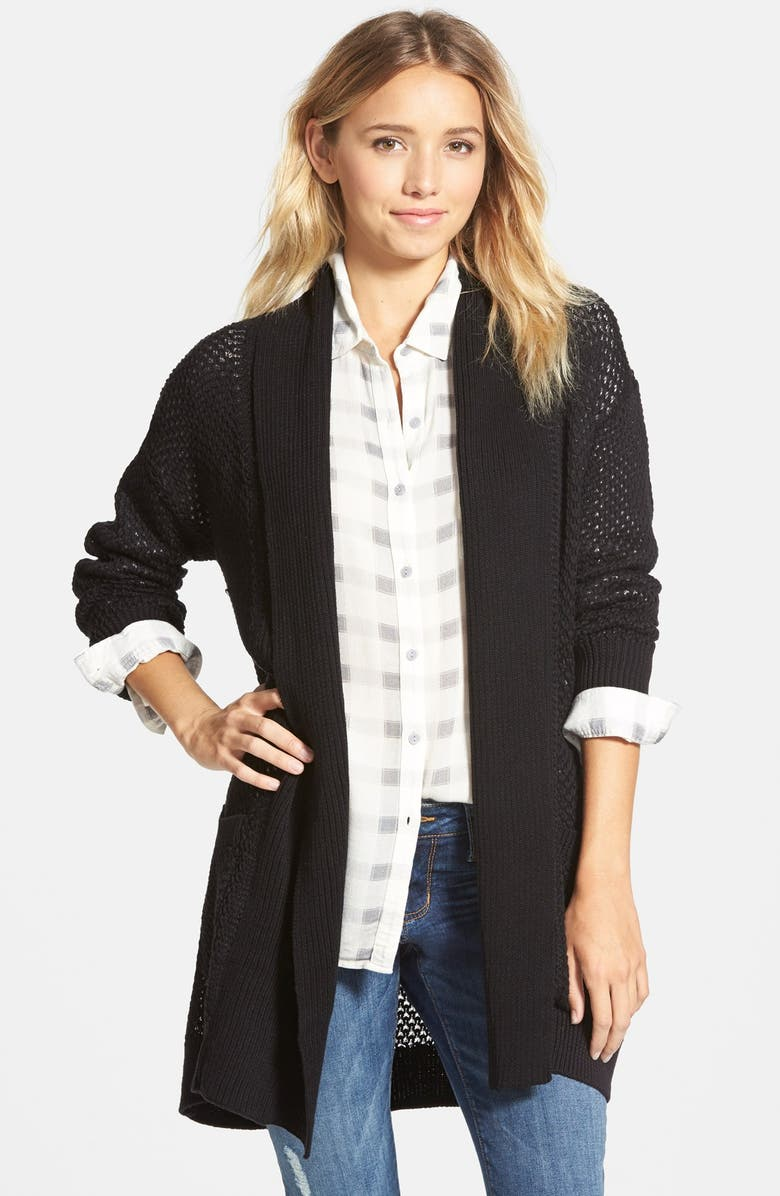 BP. Long Textured Open Cardigan, Main, color, 001