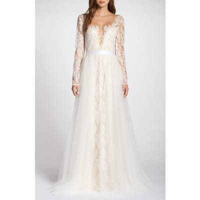 Tadashi Shoji Lace Applique V-Neck Wedding Dress With Overskirt, Ivory
