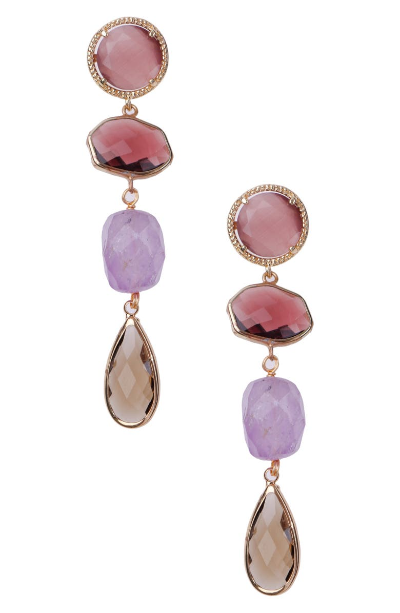 NAKAMOL CHICAGO Tiered Linear Earrings, Main, color, PURPLE MIX
