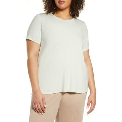 Plus Size Eileen Fisher Jewel Neck T-Shirt, Ivory