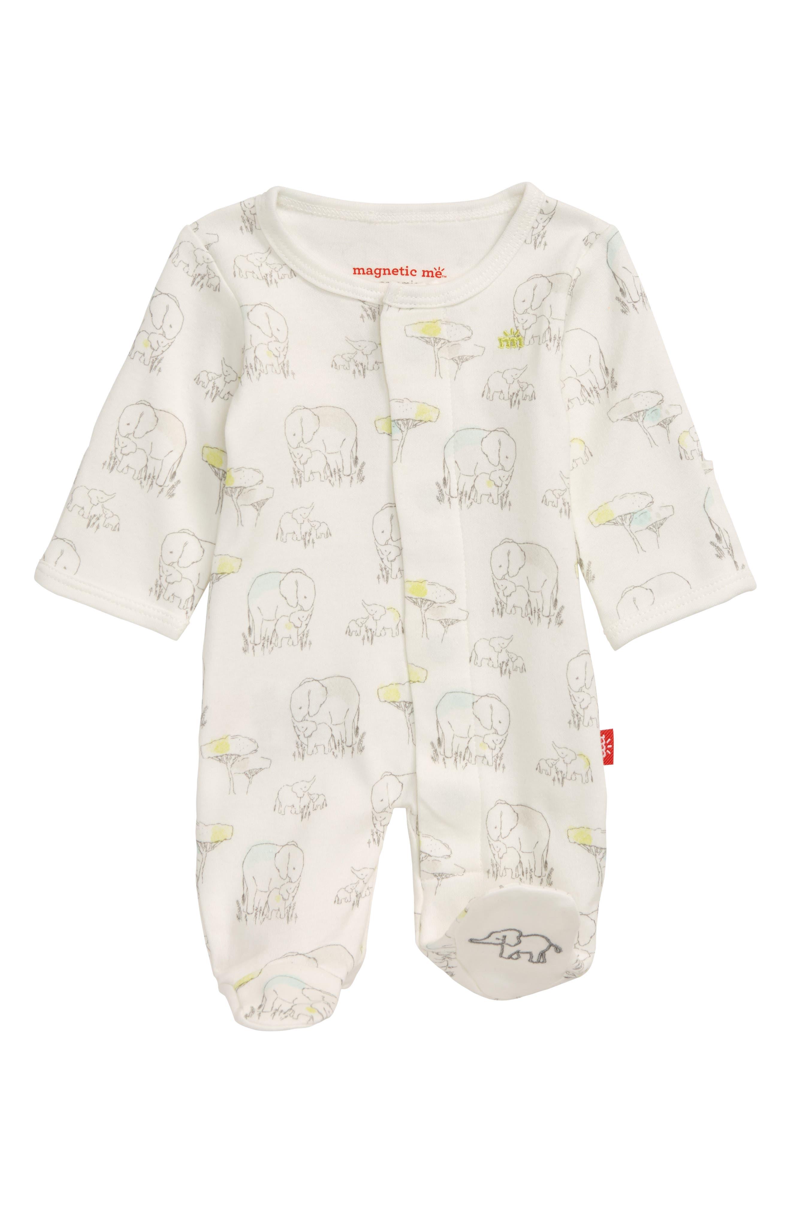 Infant Boys Magnetic Me Elephant Organic Cotton Footie