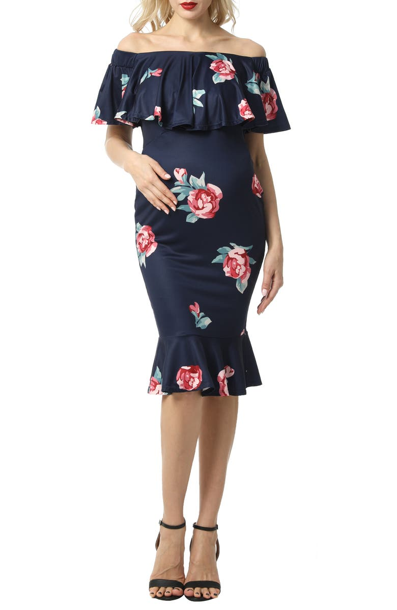 KIMI AND KAI Shyna Off the Shoulder Maternity Dress, Main, color, NAVY