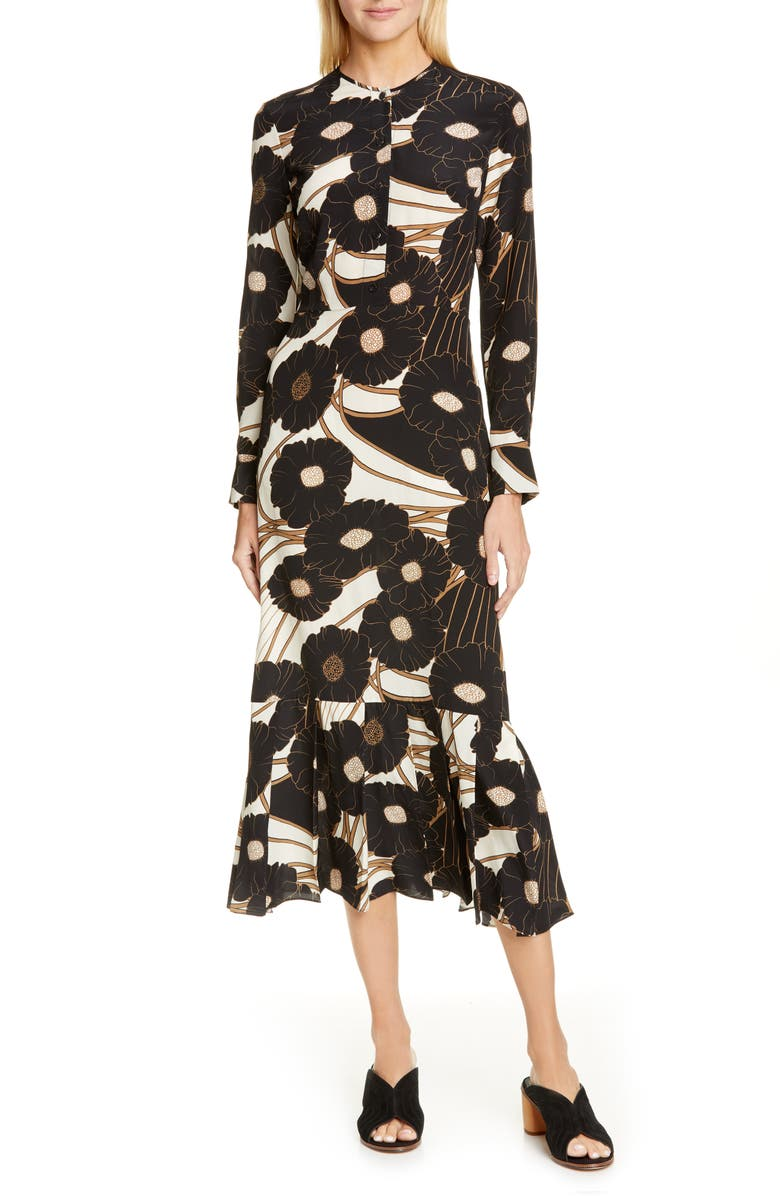 RACHEL COMEY Cessation Long Sleeve Silk Midi Dress, Main, color, BLACK