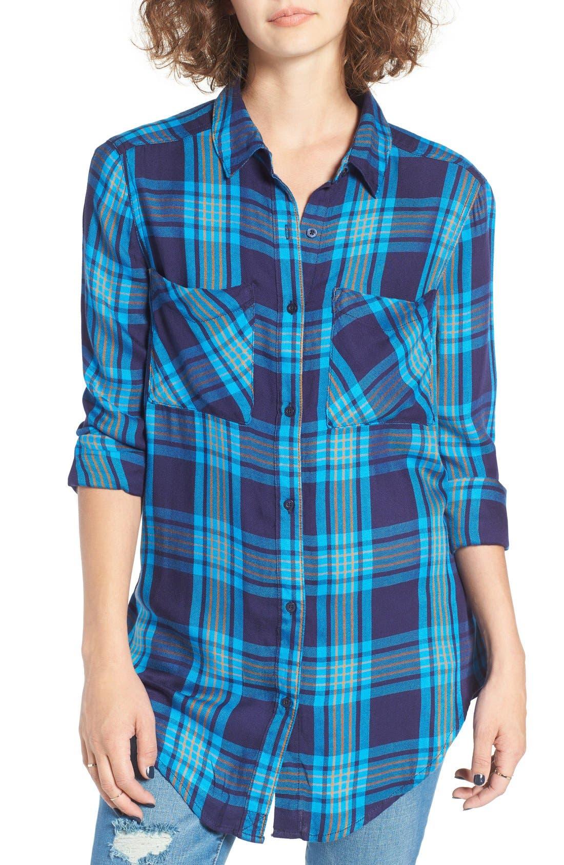 ,                             Plaid Tunic Shirt,                             Main thumbnail 25, color,                             410