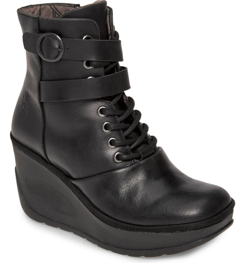 FLY LONDON Jabi Wedge Bootie, Main, color, BLACK LEATHER