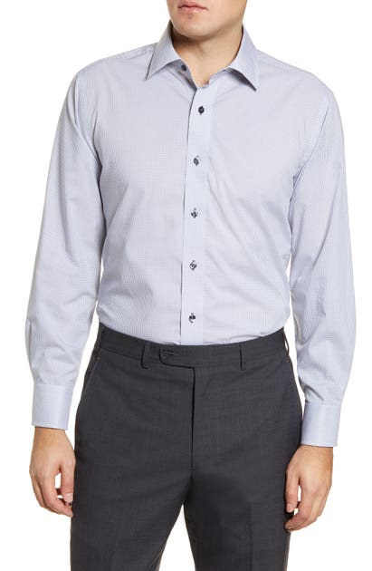 Lorenzo Uomo Trim Fit Dress Shirt In White/ Blue