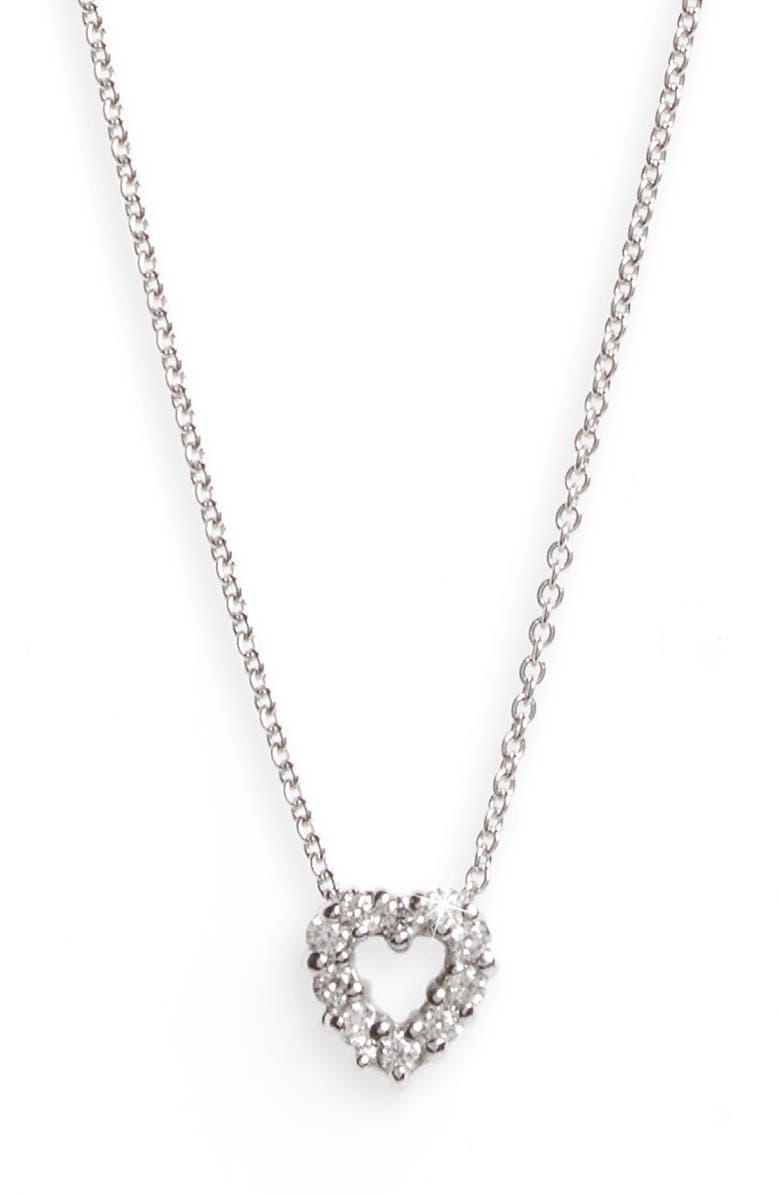 ROBERTO COIN 'Tiny Treasures' Diamond Heart Pendant Necklace, Main, color, WHITE GOLD