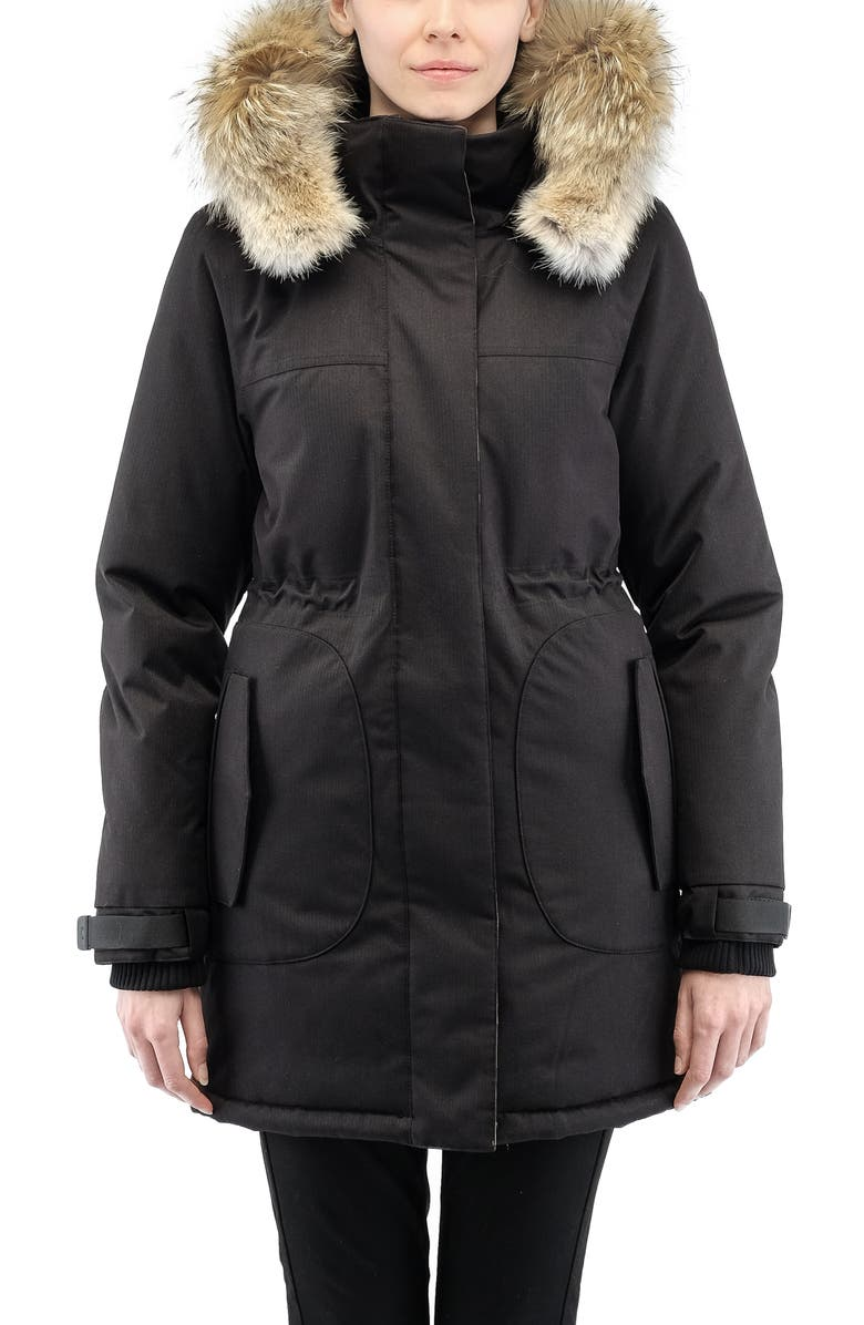 NOBIS Maya Hooded 650 Fill Power Down Parka with Genuine Coyote Fur Trim, Main, color, 001