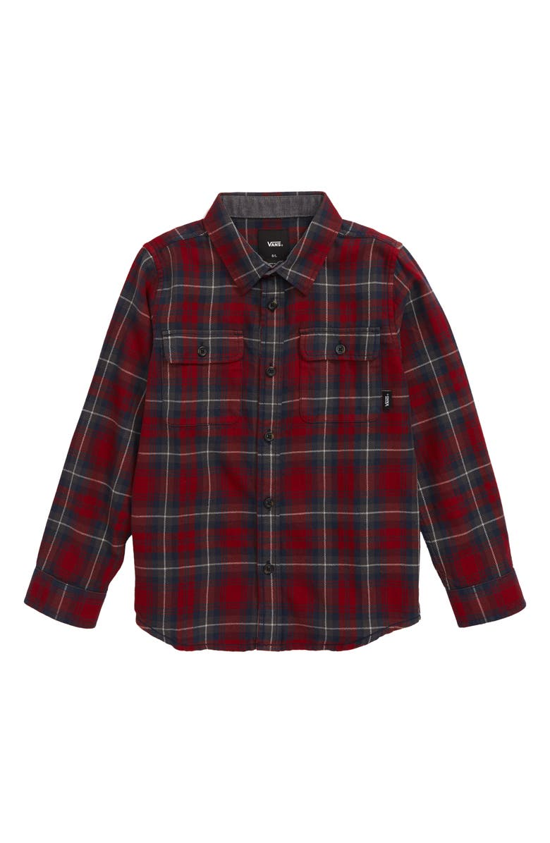 VANS Sycamore Plaid Flannel Shirt, Main, color, BIKING RED