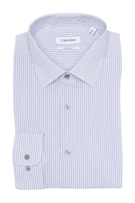 Image of Calvin Klein Stripe Print Regular Fit Dress Shirt