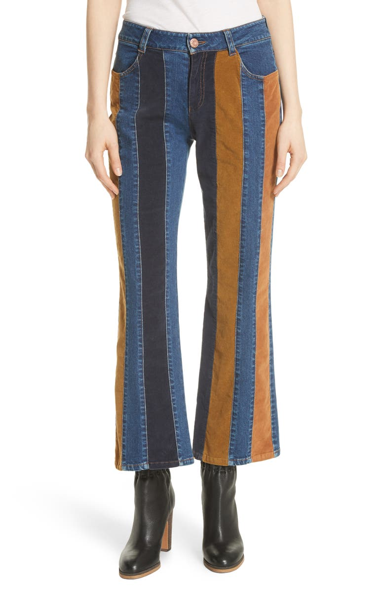 SEE BY CHLOÉ Paneled Crop Flare Jeans, Main, color, 400