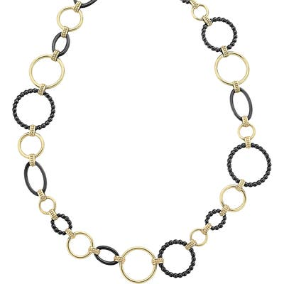 Lagos Gold & Black Caviar Circle Chain Necklace
