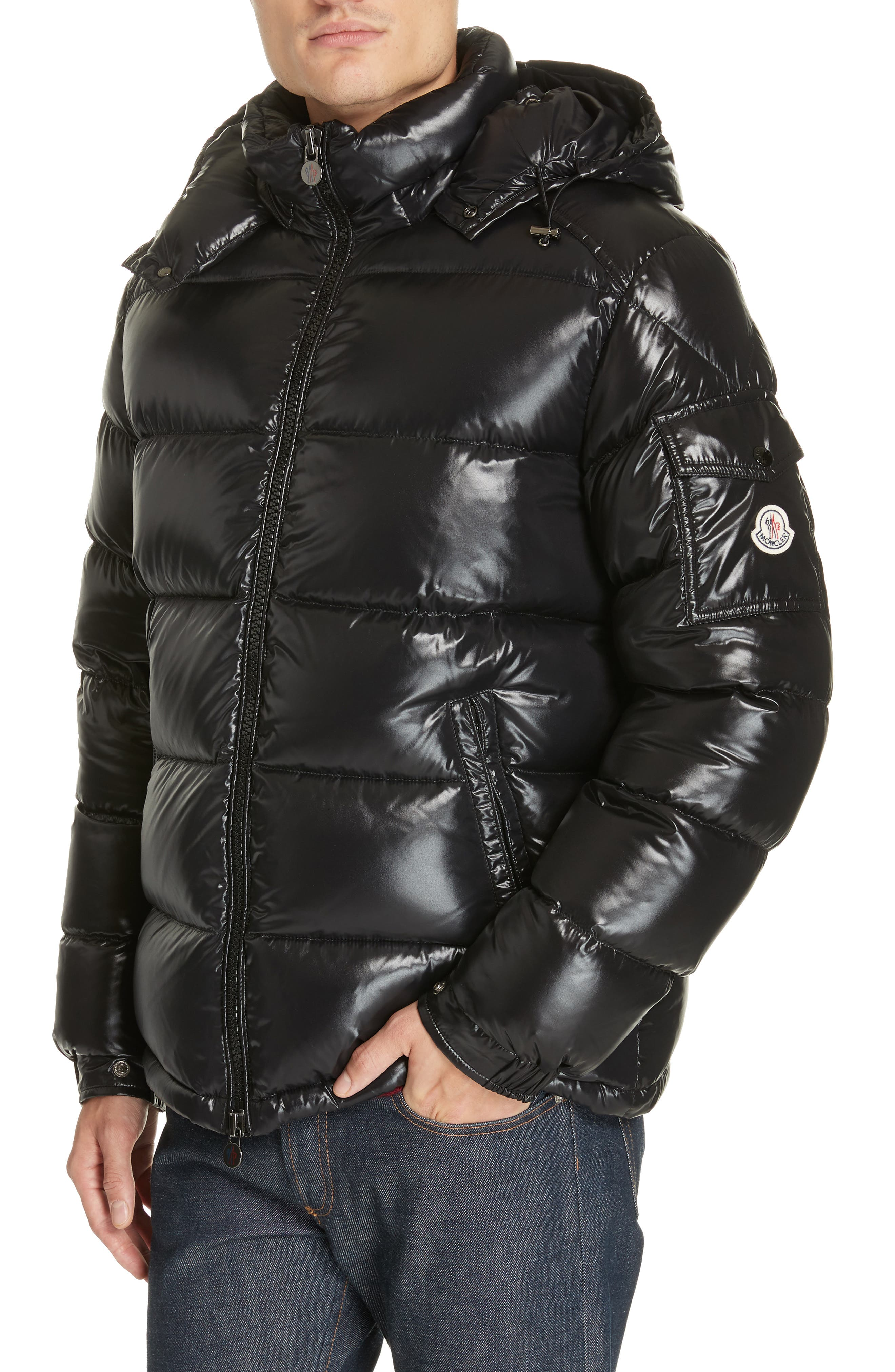 Maya Laque Quilted Down Jacket, Main, color, BLACK