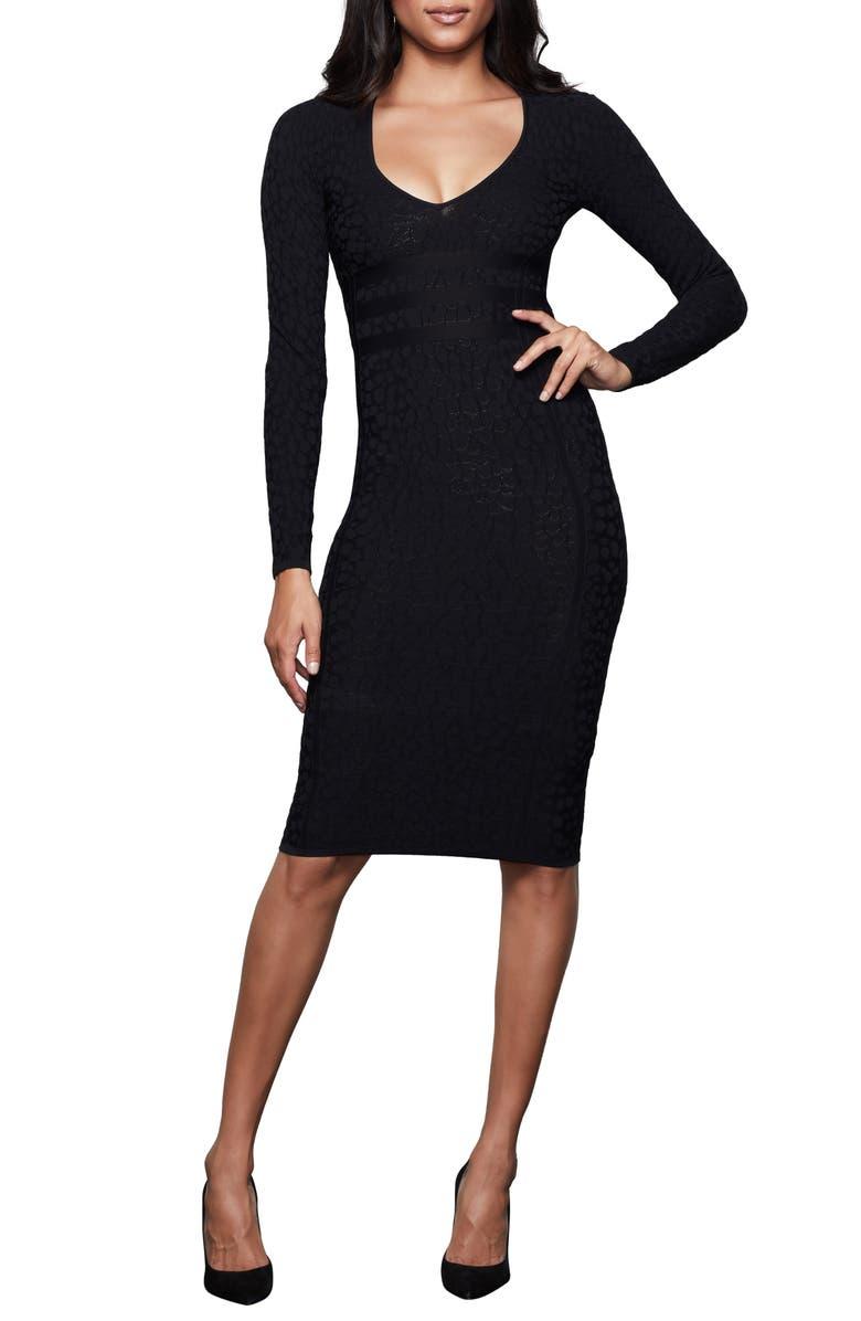 GOOD AMERICAN Deep V Leopard Long Sleeve Body-Con Dress, Main, color, BLACK005