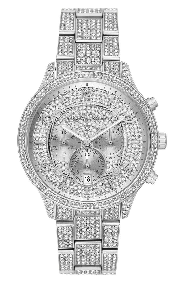 MICHAEL MICHAEL KORS Runway Crystals Bracelet Watch, 43mm, Main, color, 040
