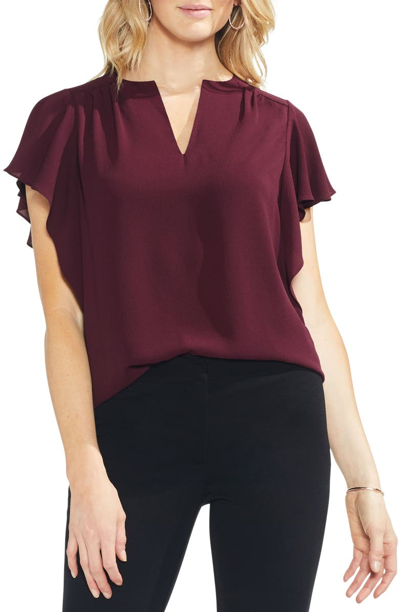 VINCE CAMUTO Flutter Sleeve Blouse, Main, color, 600