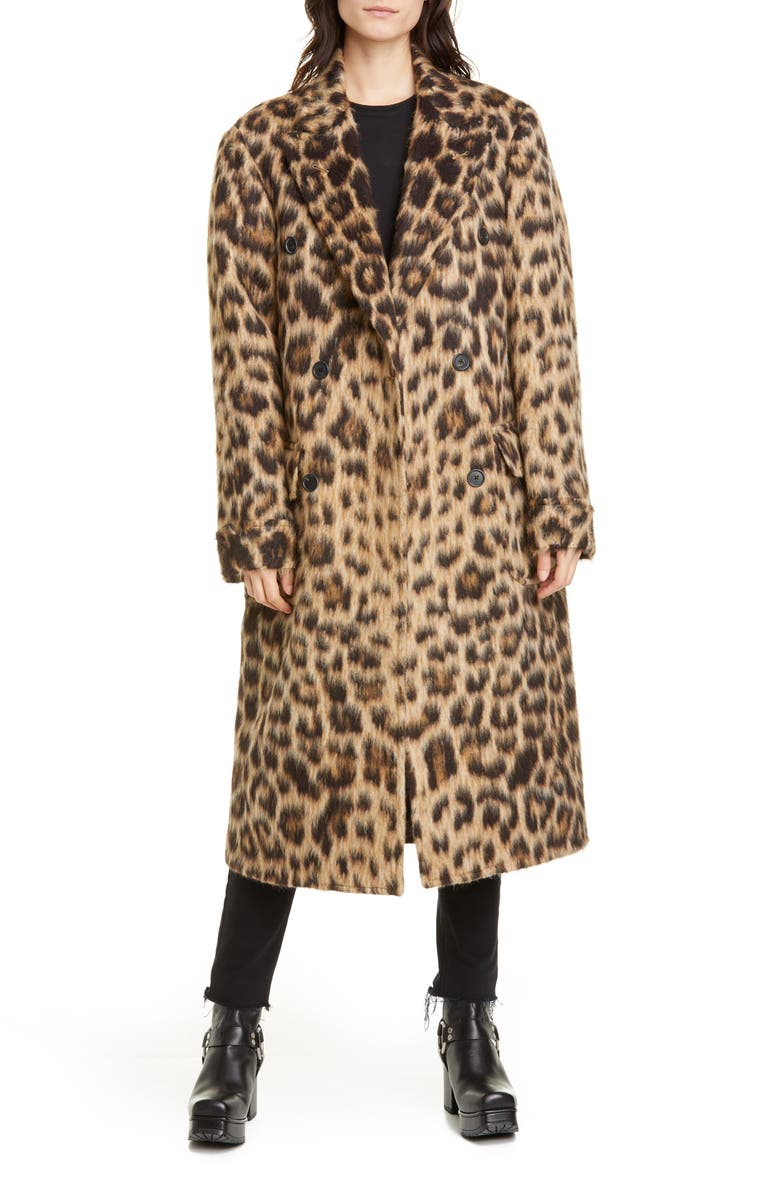 R13 Leopard Print Wool & Alpaca Double Breasted Coat, Main, color, 200
