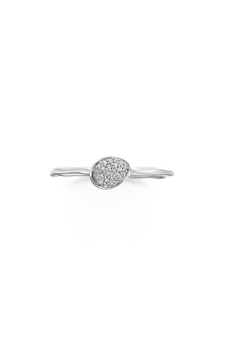 MONICA VINADER Siren Small Pavé Diamond Stacking Ring, Main, color, SILVER/ DIAMOND