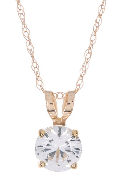 Image of Candela 10K Yellow Gold Created White Sapphire Pendant Necklace