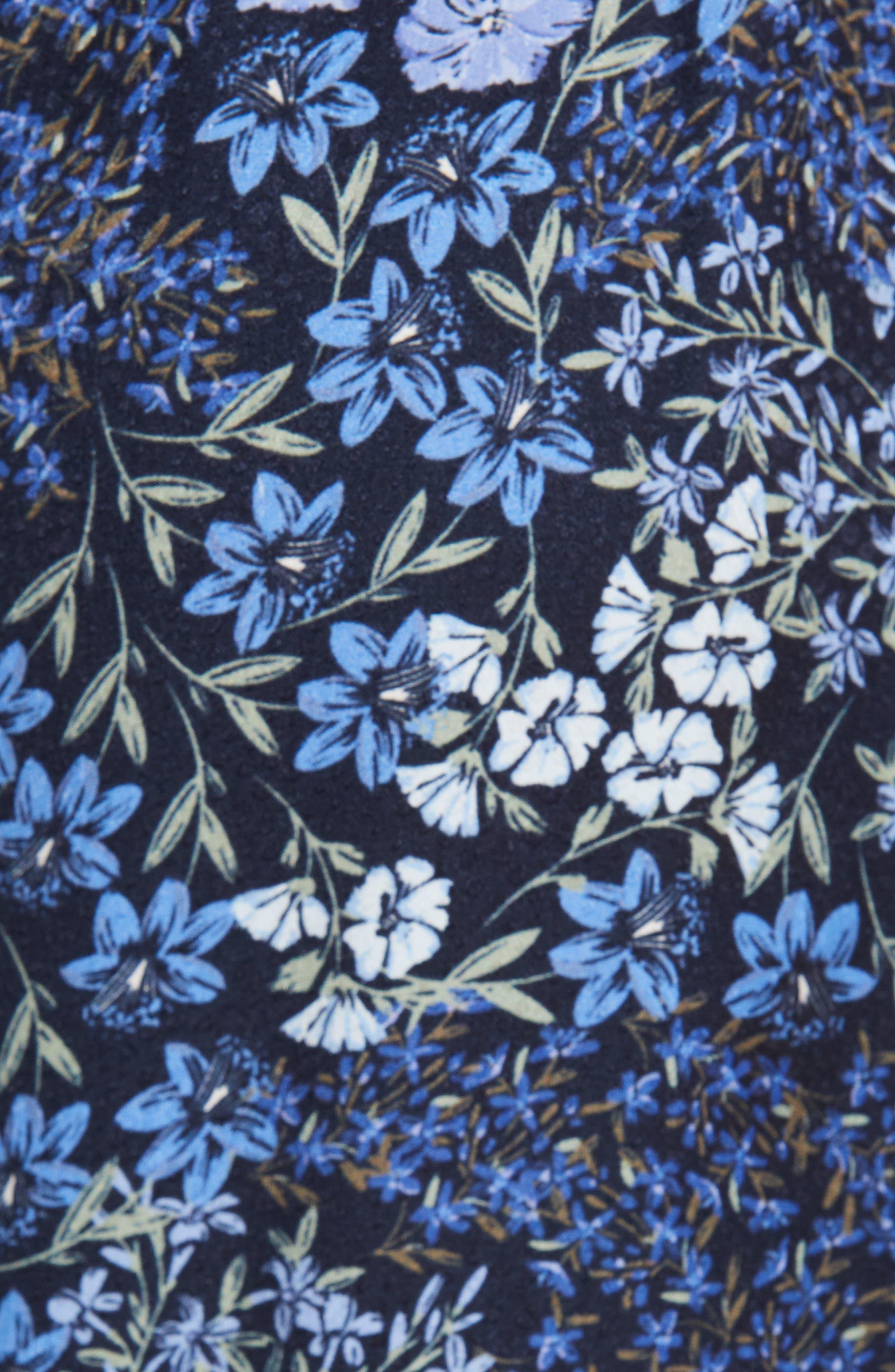 ,                             Floral Wide Leg Crop Silk Pants,                             Alternate thumbnail 6, color,                             NAVY COMBO