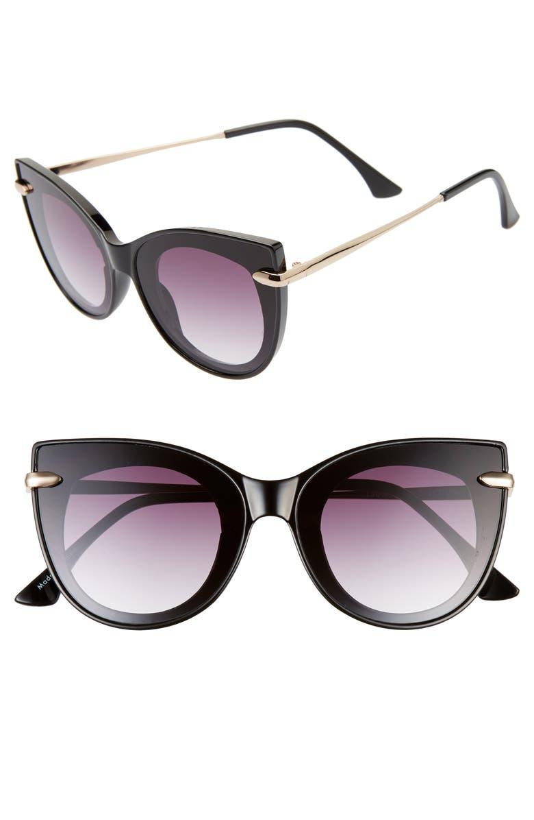 BP. 48mm Cat Eye Shield Sunglasses, Main, color, BLACK