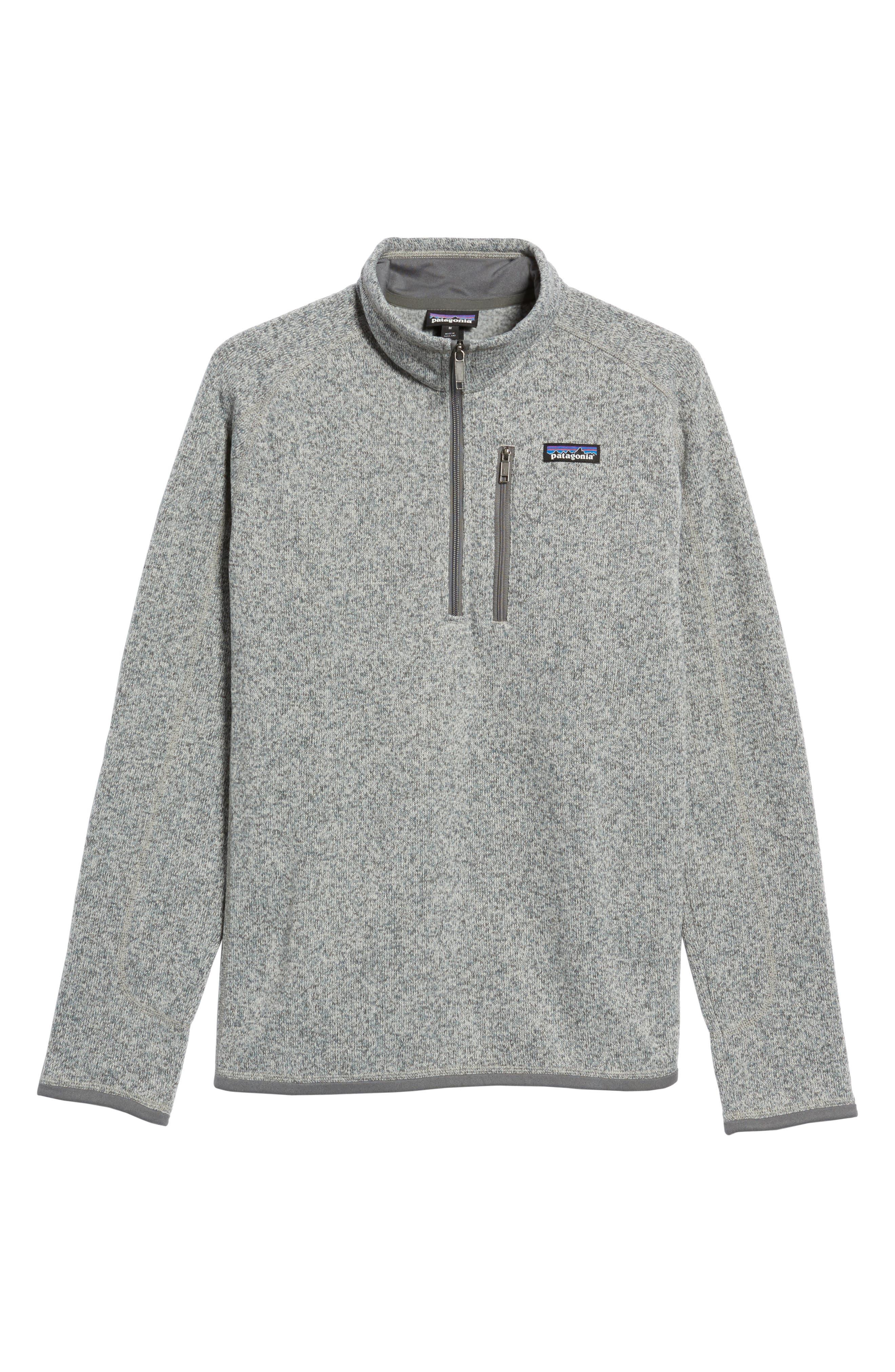 Patagonia Better Sweater Quarter Zip Fleece Lined Pullover, Grey
