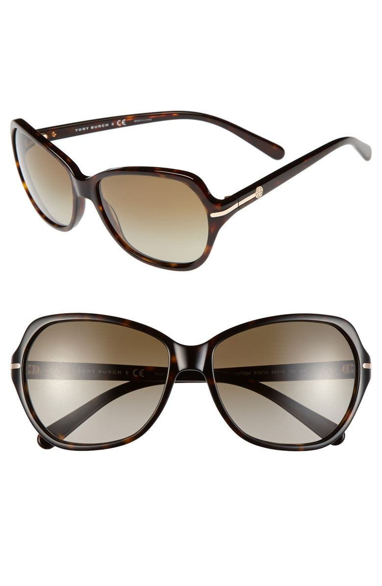 TORY BURCH 58mm Logo Bar Square Sunglasses, Main, color, 215