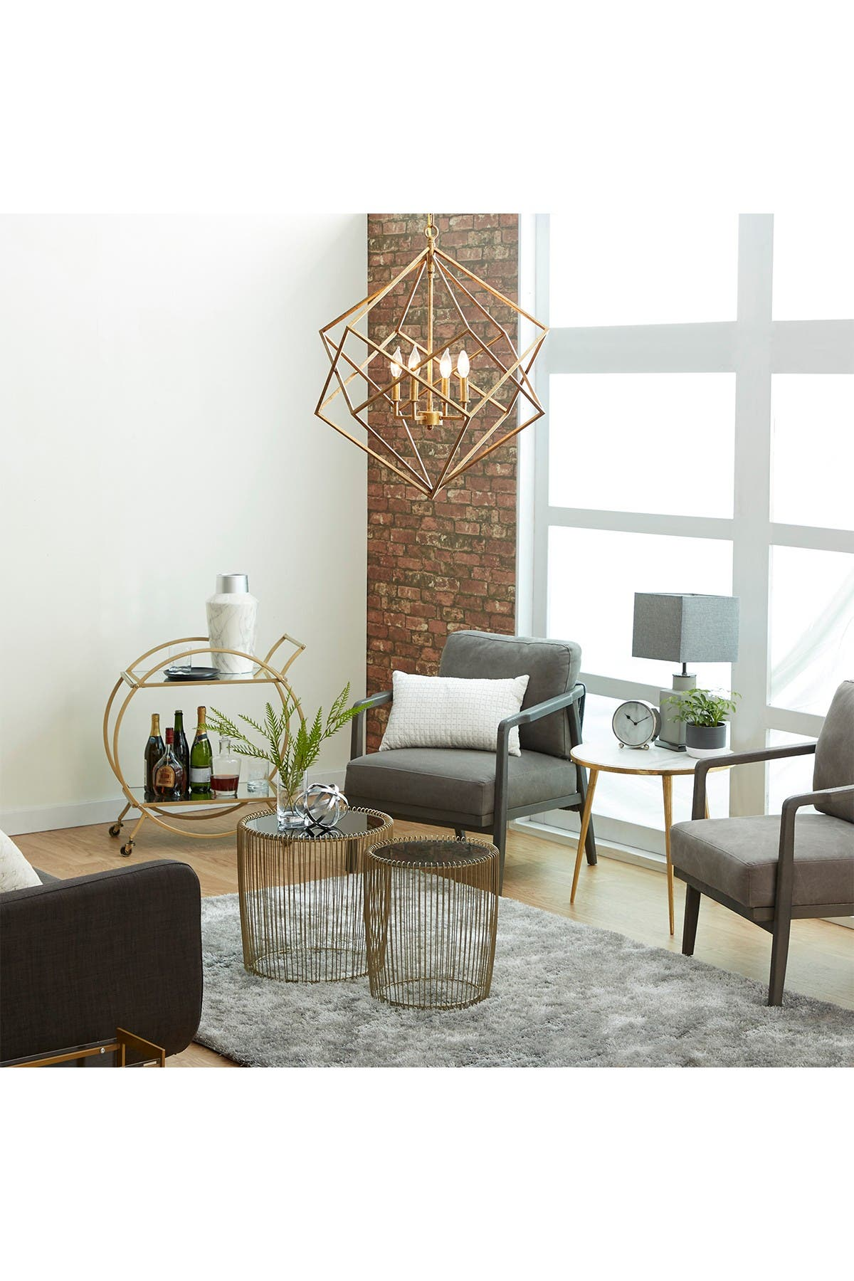 Willow Row Large Textured Gold Metal Geometric Pendant Light with Candelabra Bulbs at Nordstrom Rack