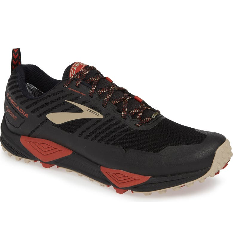 BROOKS Cascadia 13 Gore-Tex<sup>®</sup> Waterproof Trail Running Shoe, Main, color, BLACK/ RED/ TAN