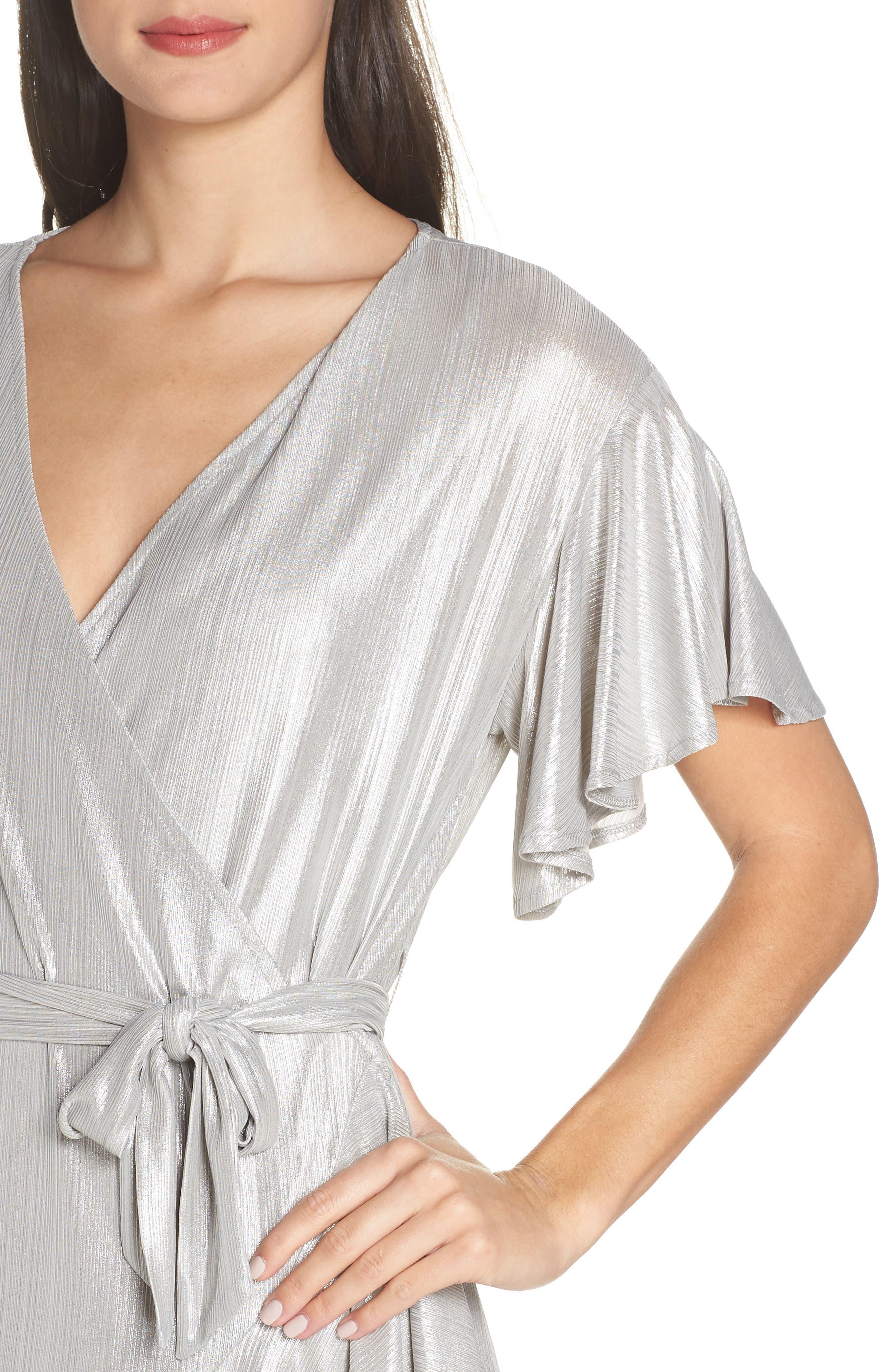 ,                             Metallic Ruffle Wrap Dress,                             Alternate thumbnail 5, color,                             SILVER