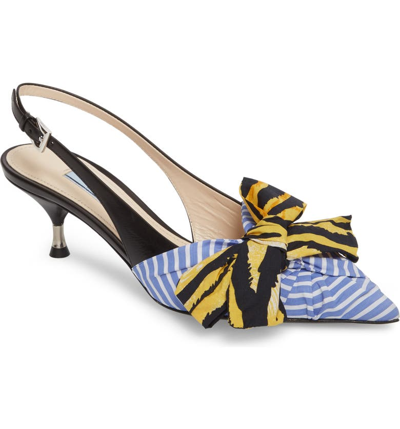 PRADA Bow Pointy Toe Pump, Main, color, 425