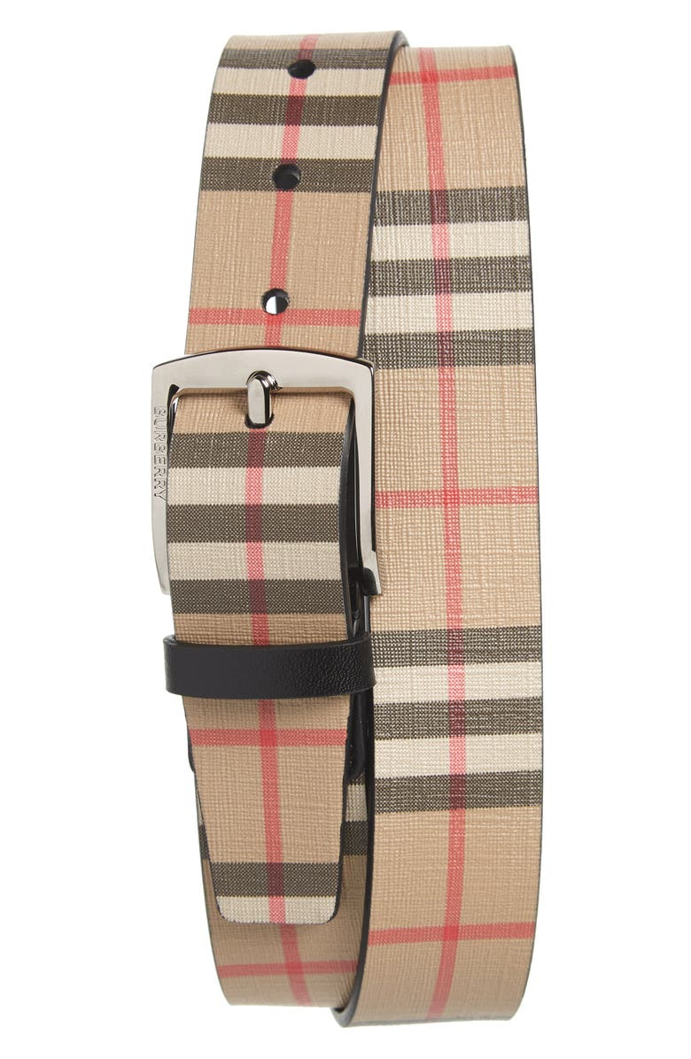 BURBERRY Vintage Check Belt, Main, color, ARCHIVE BEIGE