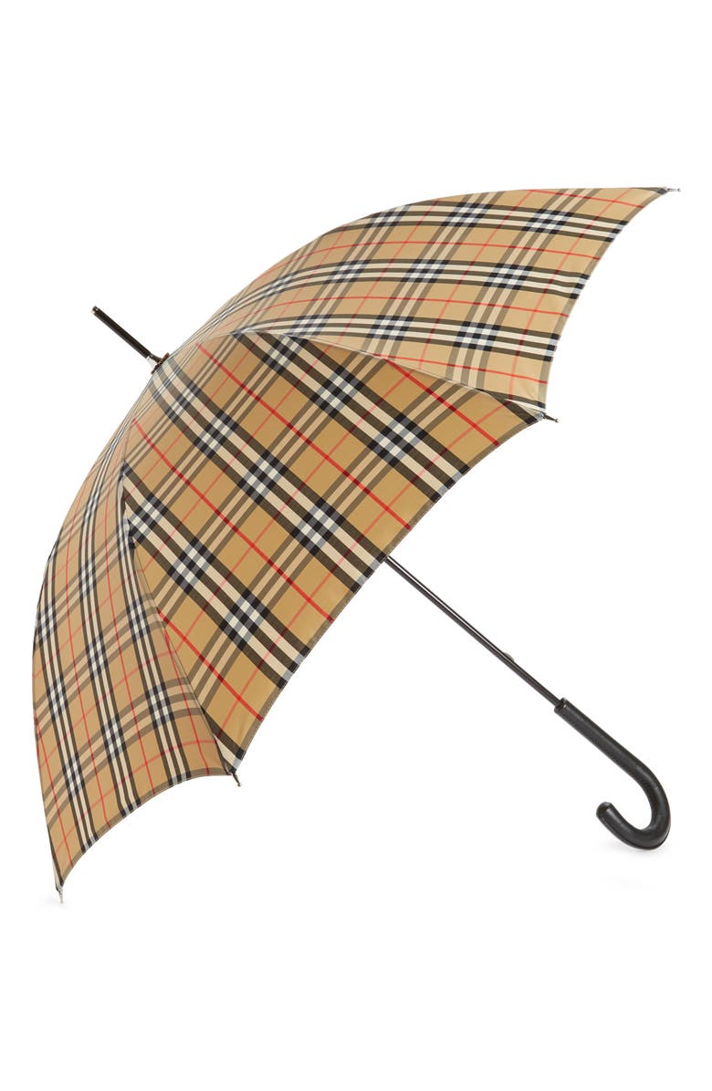 BURBERRY Walking Check Umbrella, Main, color, ARCHIVE BEIGE