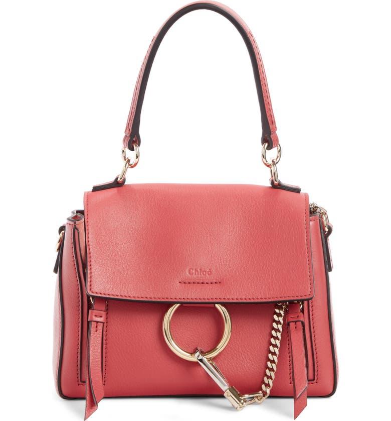 CHLOÉ Mini Faye Day Leather Crossbody Bag, Main, color, SCARLET PINK