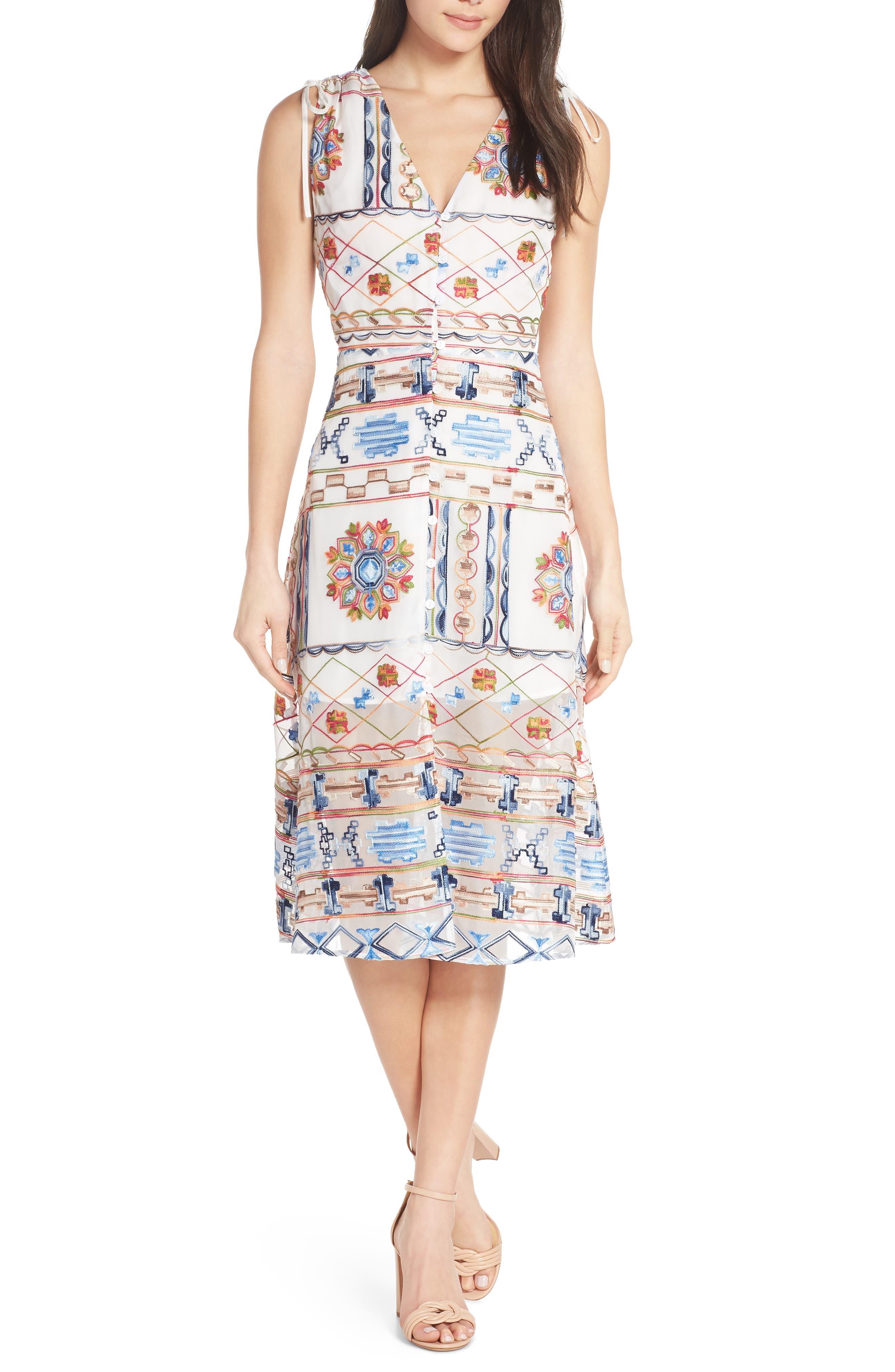 Ali & Jay La Cita Embroidered Chiffon Midi Dress, White