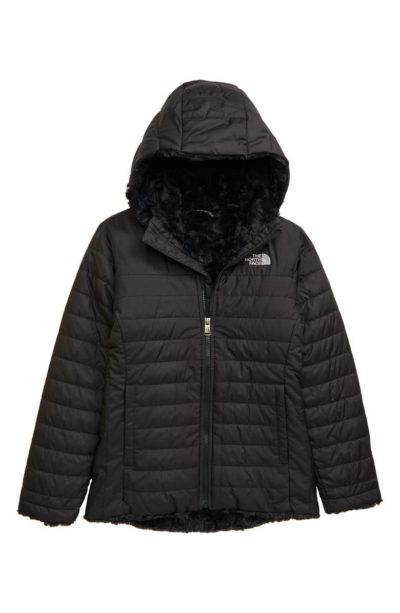 THE NORTH FACE Mossbud Swirl Reversible Water Repellent Heatseeker<sup>™</sup> Jacket, Main, color, TNF BLACK