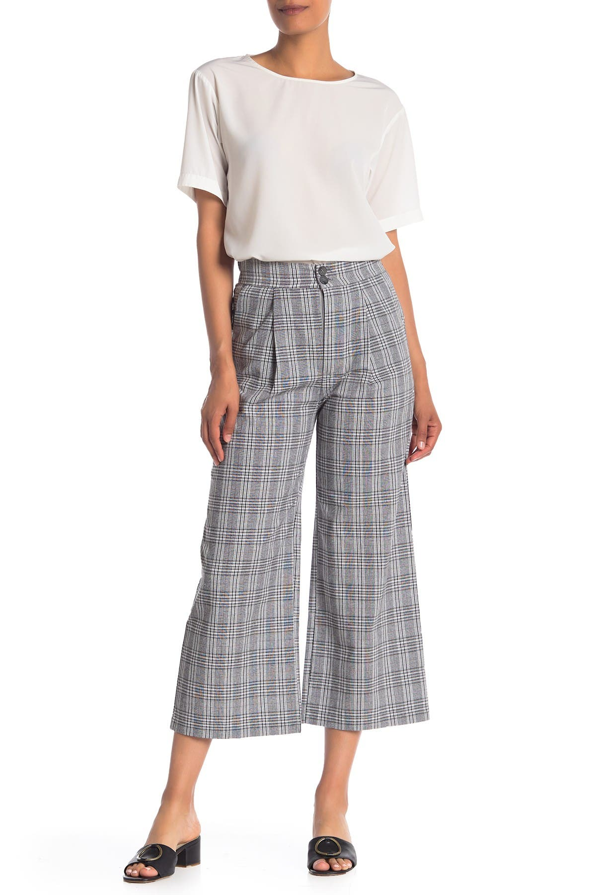 Image of Know One Cares Plaid Wide Leg Cropped Pants