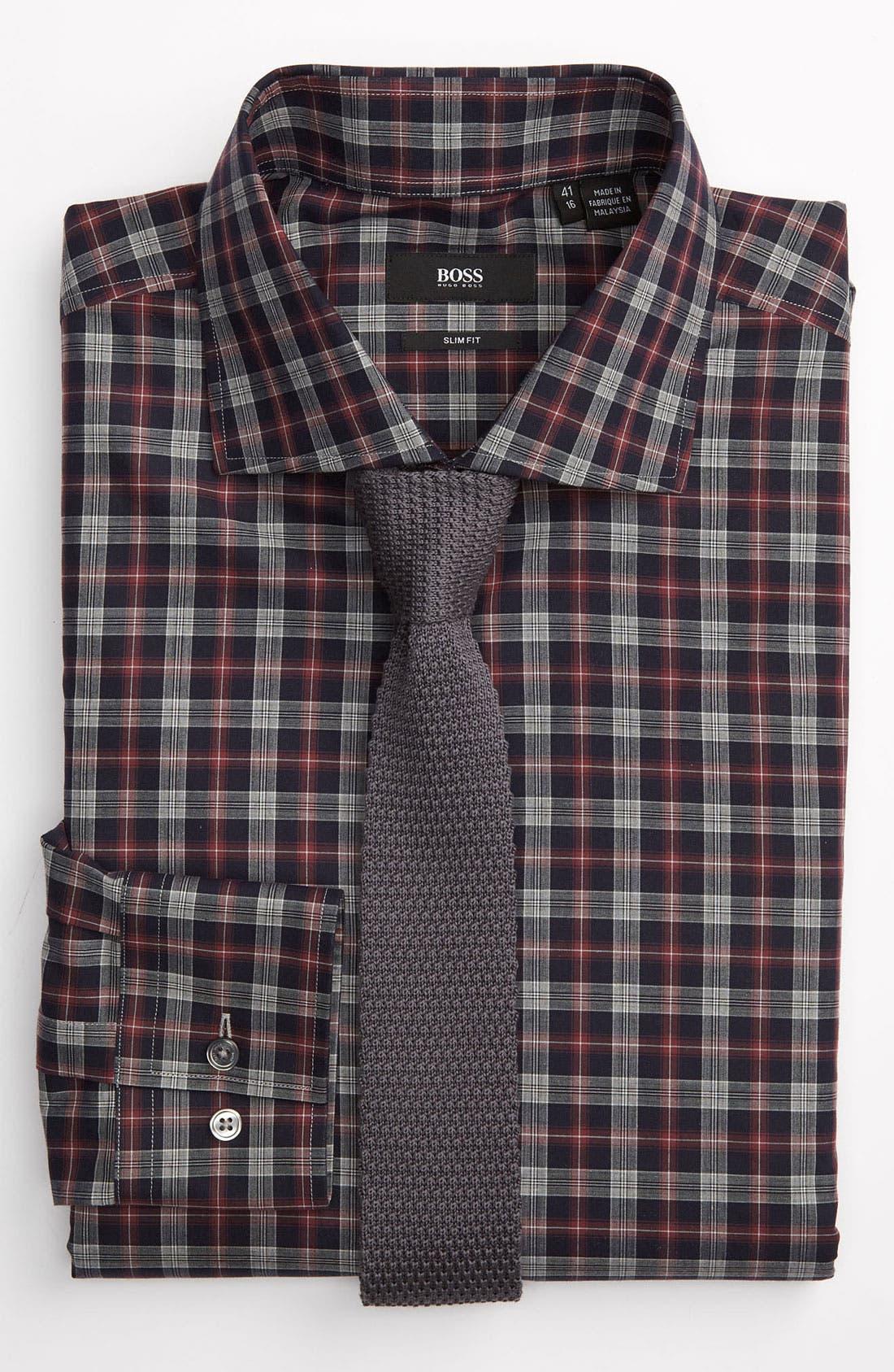 ,                             Black Slim Fit Dress Shirt,                             Alternate thumbnail 3, color,                             410