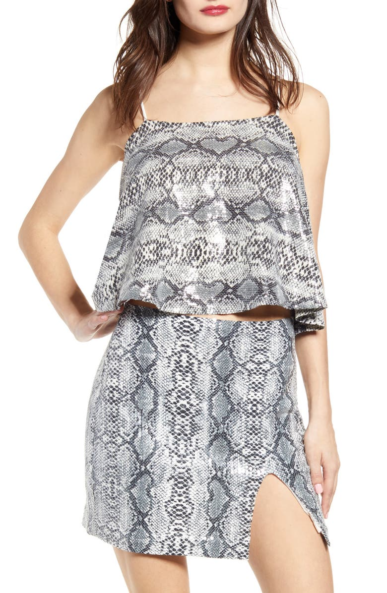 ENDLESS ROSE Snakeskin Print Camisole, Main, color, GREY