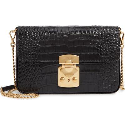 Miu Miu Croc Embossed Calfskin Leather Crossbody Bag - Black